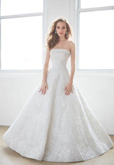Strapless Lace Ball Gown Wedding Dress by Madison James