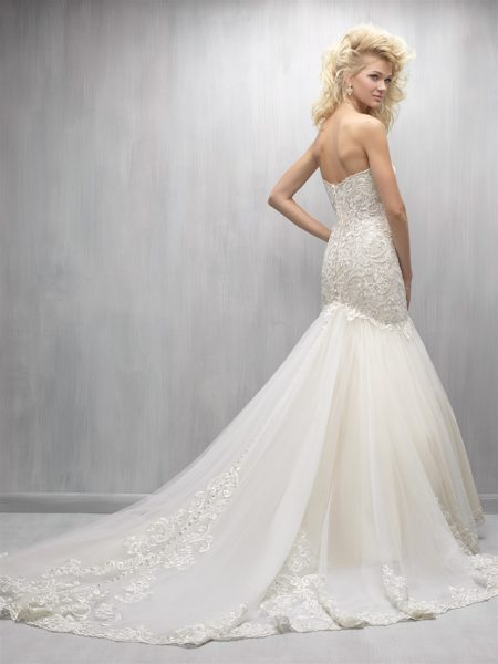 Strapless Sweetheart Beaded Lace Bodice Tulle Skirt Wedding Dress by Madison James - Image 2