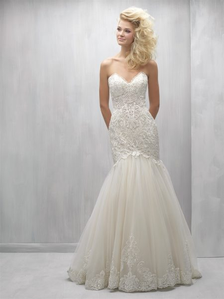 Strapless Sweetheart Beaded Lace Bodice Tulle Skirt Wedding Dress by Madison James - Image 1
