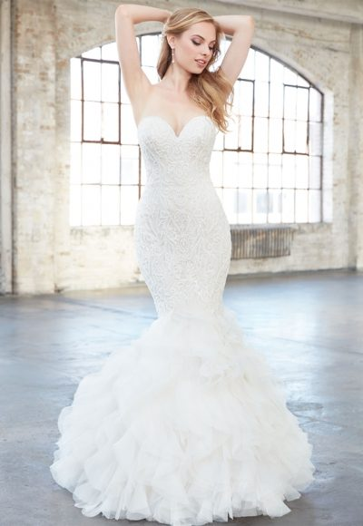 Strapless Sweetheart Beaded Lace Mermaid Wedding Dress by Madison James