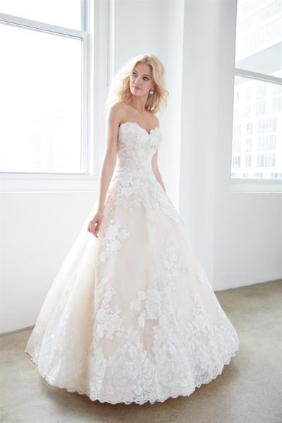 Strapless Sweetheart Lace Ball Gown Wedding Dress by Madison James - Image 1