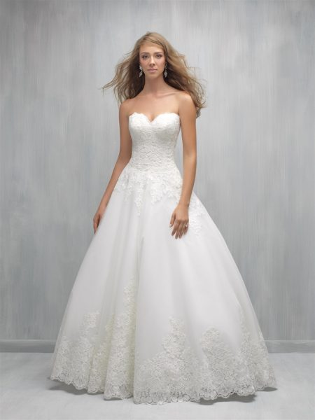 Strapless Sweetheart Lace Bodice Full Skirt Wedding Dress By Madison James Image 1