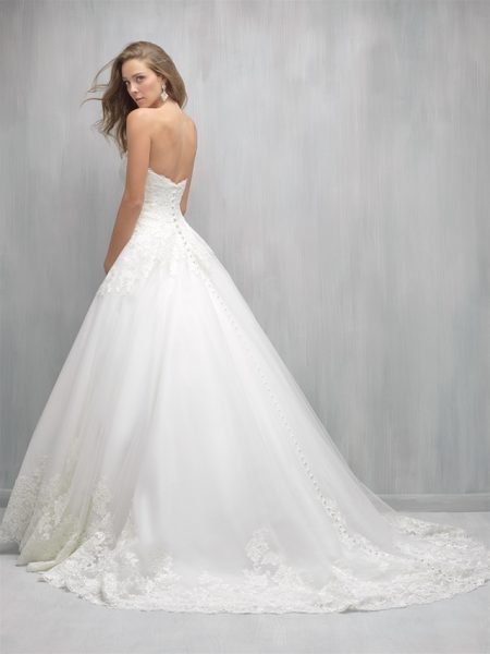 Strapless Sweetheart Lace Bodice Full Skirt Wedding Dress by Madison James - Image 2
