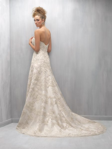 Strapless Sweetheart Neck Beaded Lace A-line Wedding Dress by Madison James - Image 2