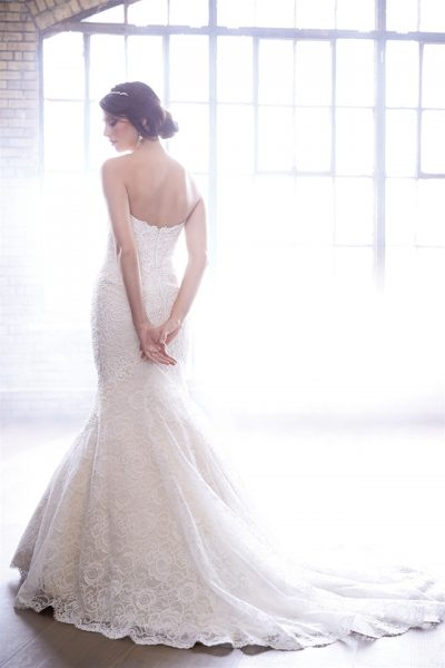 Strapless Sweetheart Neck Lace Fit And Flare Wedding Dress by Madison James - Image 2