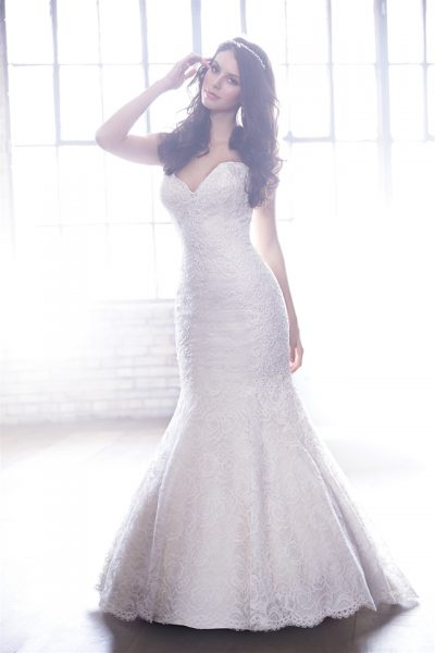 Strapless Sweetheart Neck Lace Fit And Flare Wedding Dress by Madison James - Image 1