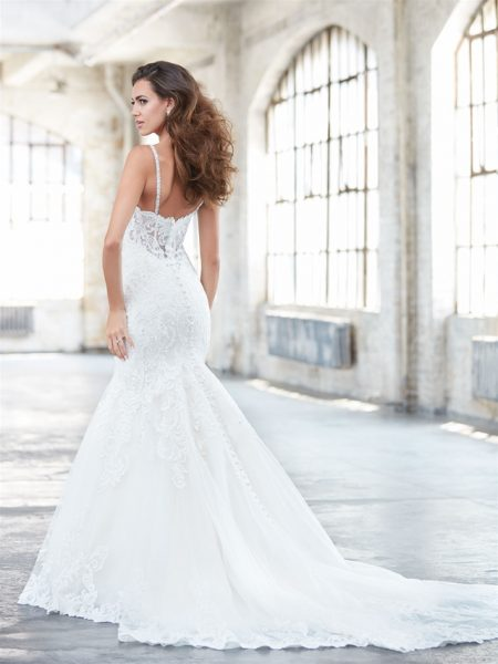 Sweetheart Neck Spaghetti Strap Lace Fit And Flare Wedding