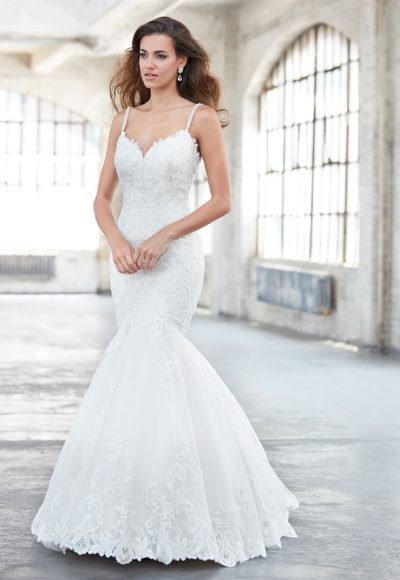 Sweetheart Neck Spaghetti Strap Lace Fit And Flare Wedding Dress by Madison James