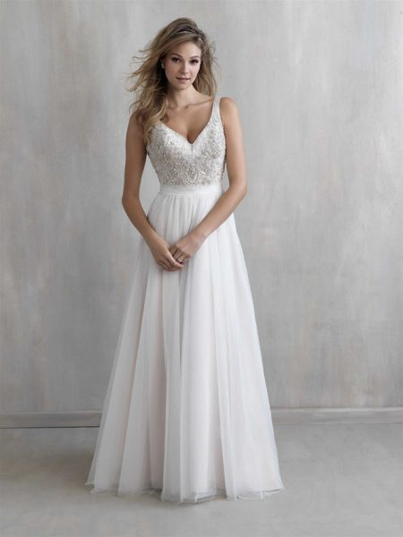 V-neck Beaded Bodice Tulle Skirt A-line Weddng Dress by Madison James - Image 1