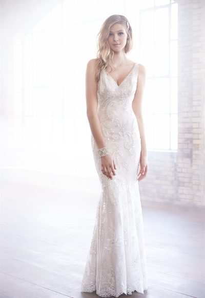 V-neck Beaded Embroidery Fit And Flare Wedding Dress by Madison James