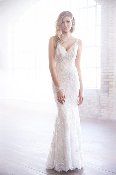 V-neck Beaded Embroidery Fit And Flare Wedding Dress by Madison James - Image 1