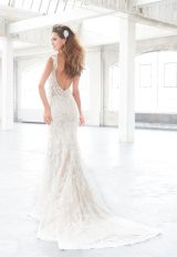V-neck Beaded Lace Bodice Fit And Flare Wedding Dress by Madison James - Image 2