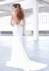 V-neck Beaded Lace Bodice Low Back Sheath Wedding Dress by Madison James - Image 2