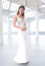 V-neck Beaded Lace Bodice Low Back Sheath Wedding Dress by Madison James - Image 1
