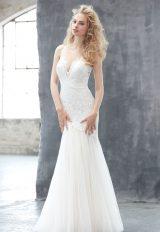 V-neck Lace Bodice Tulle Skirt Wedding Dress by Madison James - Image 1