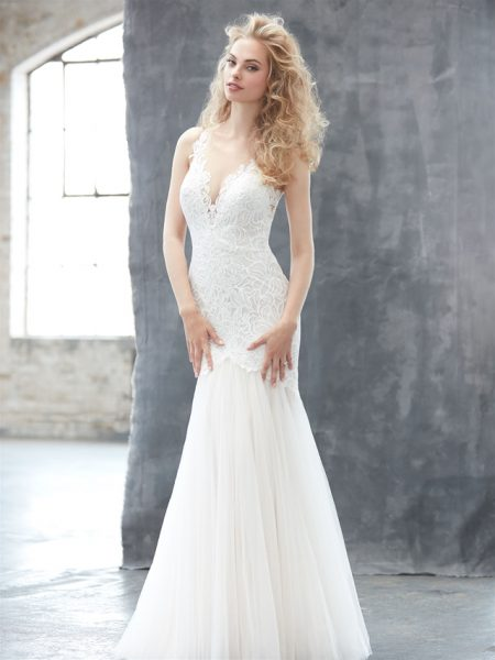 V-neck Lace Bodice Tulle Skirt Wedding Dress by Madison James - Image 1