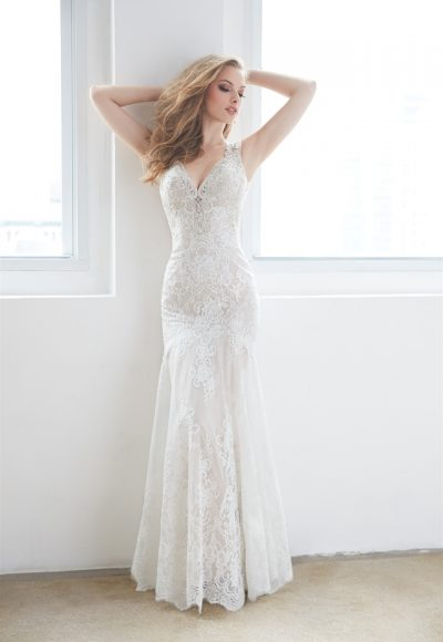 V-neck Open Back Lace Sleeveless Wedding Dress by Madison James