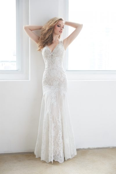 V-neck Open Back Lace Sleeveless Wedding Dress by Madison James - Image 1