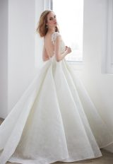 V-neck Pearl Beadwork Cap Sleeve Ball Gown Wedding Dress by Madison James - Image 2