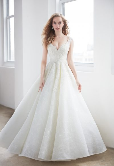 V-neck Pearl Beadwork Cap Sleeve Ball Gown Wedding Dress by Madison James