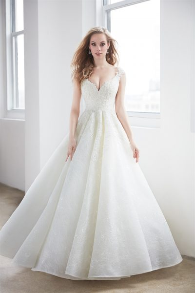 V-neck Pearl Beadwork Cap Sleeve Ball Gown Wedding Dress by Madison James - Image 1