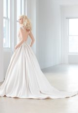 V-neck Sleeveless Beaded Bodice Satin Skirt Ball Gown Wedding Dress by Madison James - Image 2