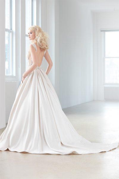 V-neck Sleeveless Beaded Bodice Satin Skirt Ball Gown Wedding Dress by Madison James - Image 2