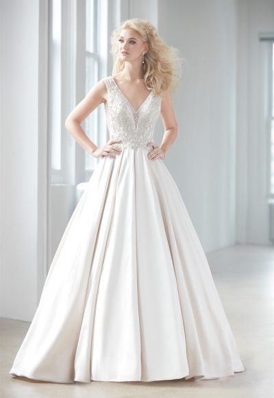 V-neck Sleeveless Beaded Bodice Satin Skirt Ball Gown Wedding Dress by Madison James