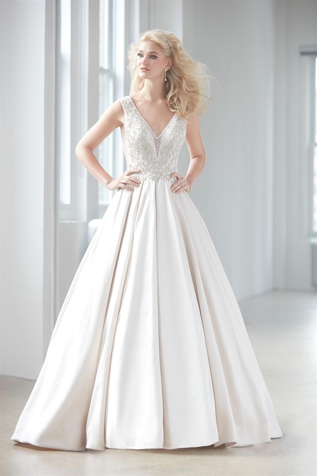 V Neck Sleeveless Beaded Bodice Satin Skirt Ball Gown Wedding Dress