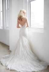 V-neck Sleeveless Beaded Lace Fit And Flare Wedding Dress by Madison James - Image 2