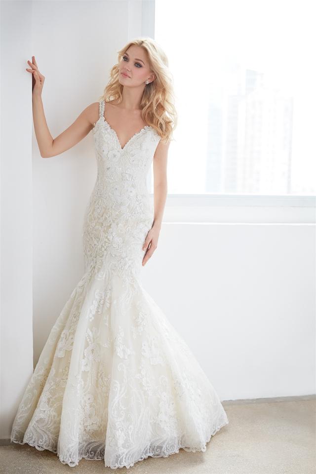 V-neck Sleeveless Beaded Lace Fit And Flare Wedding Dress ...