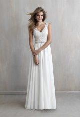 V-neck Sleeveless Lace Bodice A-line Wedding Dress by Madison James - Image 1