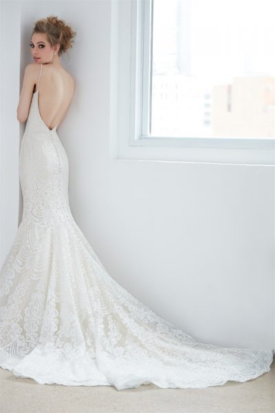 V-neck Spaghetti Strap Beaded Lace Mermaid Wedding Dress by Madison James - Image 2