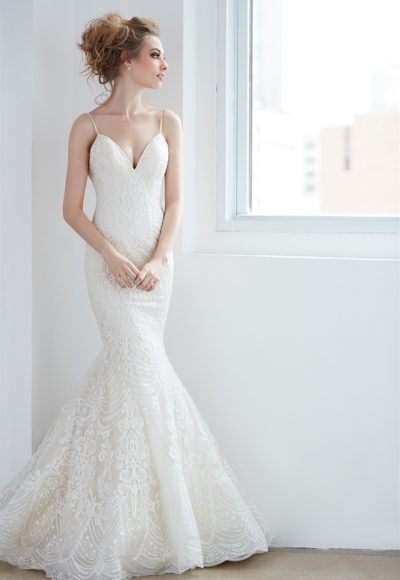 V-neck Spaghetti Strap Beaded Lace Mermaid Wedding Dress by Madison James