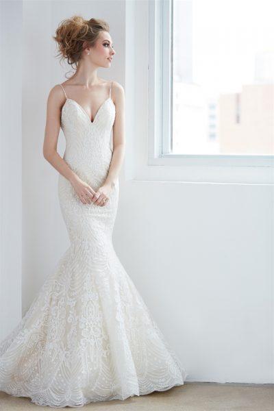 V-neck Spaghetti Strap Beaded Lace Mermaid Wedding Dress by Madison James - Image 1