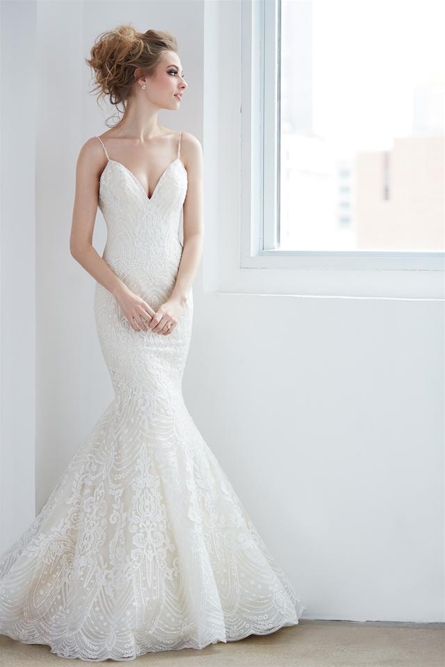 V-neck Spaghetti Strap Beaded Lace Mermaid Wedding Dress | Kleinfeld ...