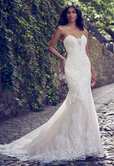 066da113bd558 Style #MJ155XS · Beaded Lace Strappless Sweetheart Wedding Dress by Maggie  Sottero