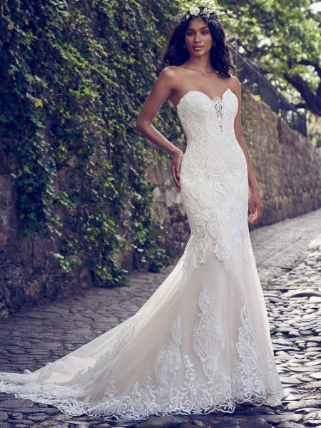 Beaded Lace Strappless Sweetheart Wedding Dress by Maggie Sottero - Image 1