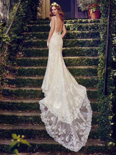 Beaded Lace V-neck Sheath Wedding Dress by Maggie Sottero - Image 2
