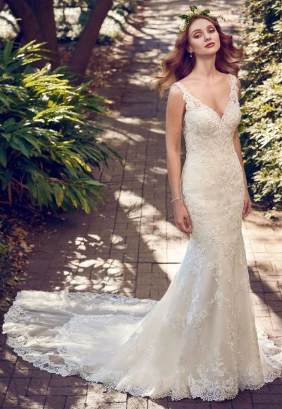 Beaded Lace V-neck Sheath Wedding Dress by Maggie Sottero
