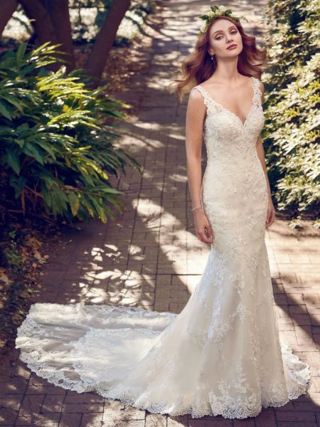 Beaded Lace V-neck Sheath Wedding Dress by Maggie Sottero - Image 1