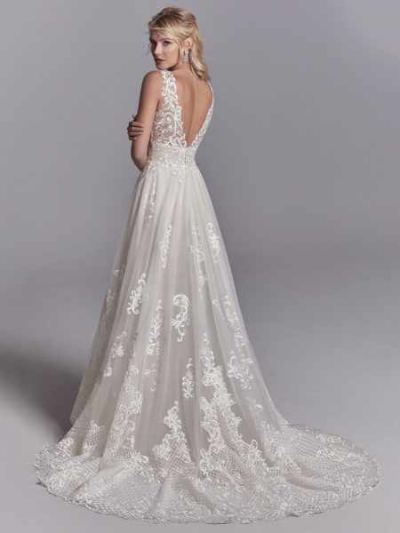 Lace A-line V-neck Embroidered Wedding Dress by Maggie Sottero - Image 2