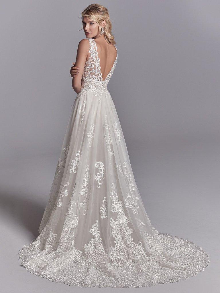 Lace A-line V-neck Embroidered Wedding Dress | Kleinfeld Bridal