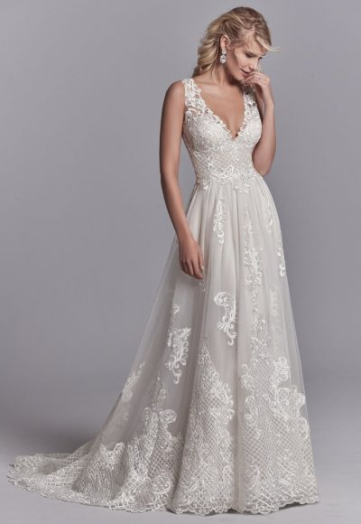 Lace A-line V-neck Embroidered Wedding Dress by Maggie Sottero