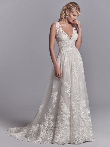 Lace A-line V-neck Embroidered Wedding Dress by Maggie Sottero - Image 1