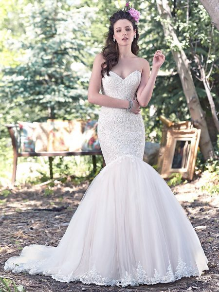 Lace Sweetheart Neck Bodice Fit And Flare Wedding Dress by Maggie Sottero - Image 1