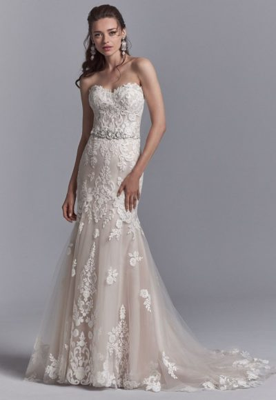 Strapless Lace Fit And Flare Wedding Dress With Beaded Belt by Sottero and Midgley