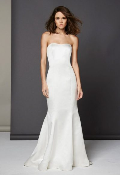 Simple Silk Fit And Flare Wedding Dress by Michelle Roth
