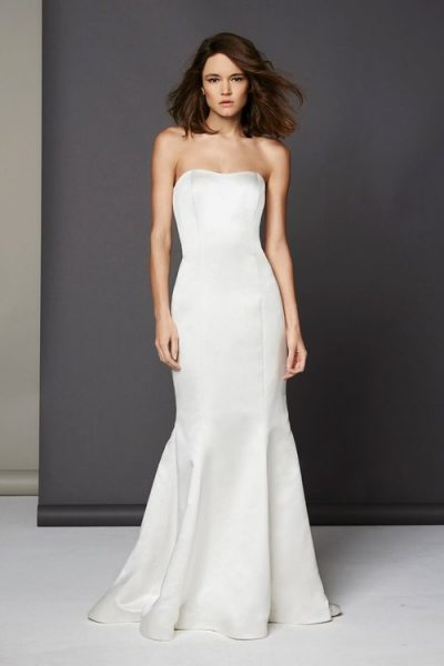 Simple Silk Fit And Flare Wedding Dress by Michelle Roth - Image 1