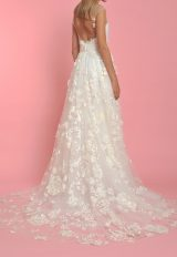 Illusion Neck Sleeveless Flower Applique A-line Wedding Dress - Image 2